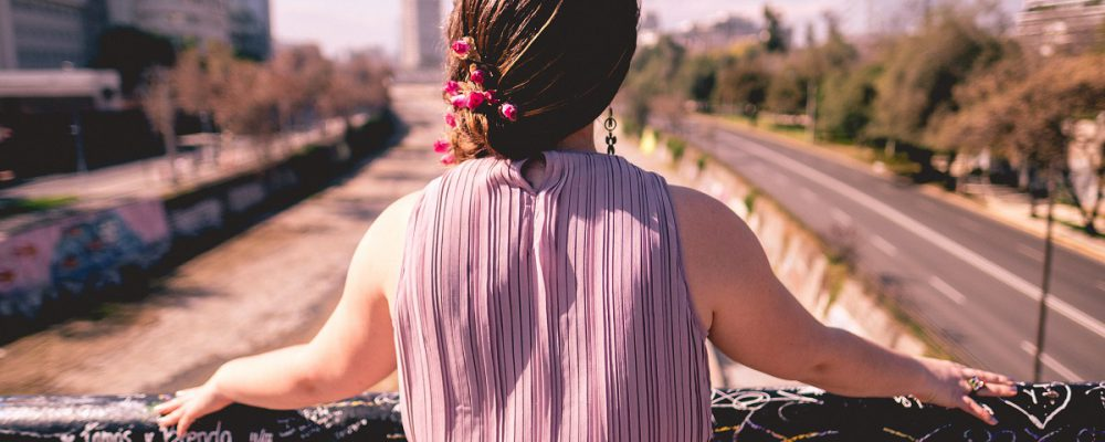 Girl from back with purple dress and beautiful braided hair with flowers in front of Mapocho river and Santiago cityscape, Chile